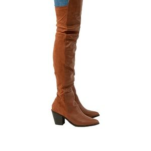 Women's Chunky Heel Cognac Over The Knee Boots